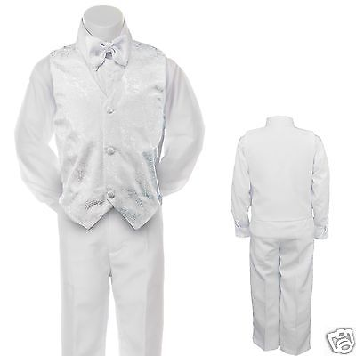 Baby Toddler Kid Teen Boy Wedding Easter Formal Party Vest Suit Gray Silver S-20