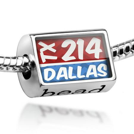 Bead 214 Dallas, TX red/blue Charm Fits All European Bracelets