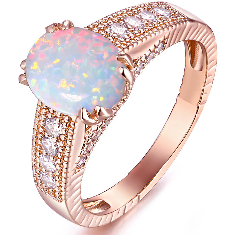 White Fire Opal 18kt Rose Gold-Tone Engagement Ring