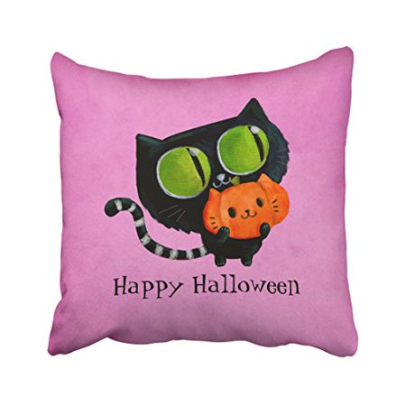 WinHome Decorative Pillowcases Halloween Cute Cat With Pumpkin Throw Pillow Covers Cases Cushion Cover Case Sofa 18x18 Inches Two Side