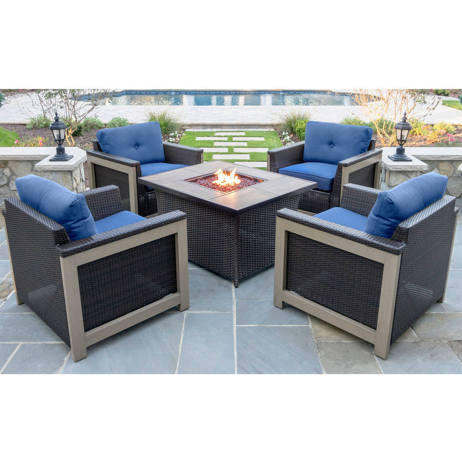 Hanover Outdoor Montana 5-Piece Woven Fire Pit Chat Set with Faux Woodgrain Tile Top