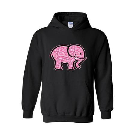 3c156ef142c8 IWPF - Pink Paisley Elephant Unisex Hoodie Hooded Sweatshirt - Walmart.com