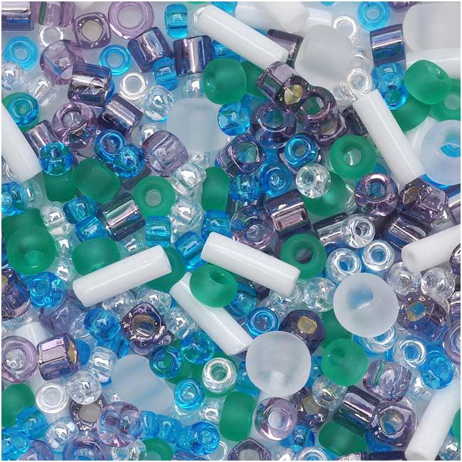 Toho Multi-Shape Glass Beads 'Fuji' White/Green/Blue/Purple Color Mix 8 Gram Tube