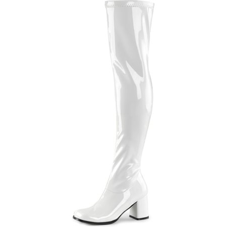 Womens White Go Go Boots Over The Knee Patent Zipper Block 3 Inch Heel