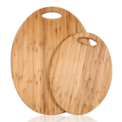 Adeco Trading 2 Piece 100pct Natural Bamboo Oval Chopping Board Set