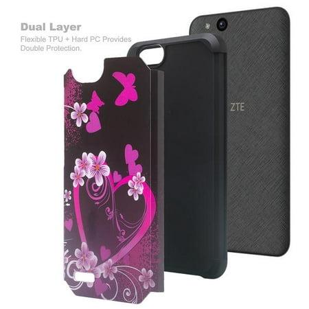 ZTE ZFive G LTE Z557BL / ZTE ZFive C Z558VL / ZTE Avid 4 /ZTE Fanfare 3 / ZTE Blade Vantage / ZTE Tempo X / ZTE Tempo Go [Impact Resistant] Silicone Hybrid Dual Layer Case Cover - Hot Pink Heart - image 1 of 5