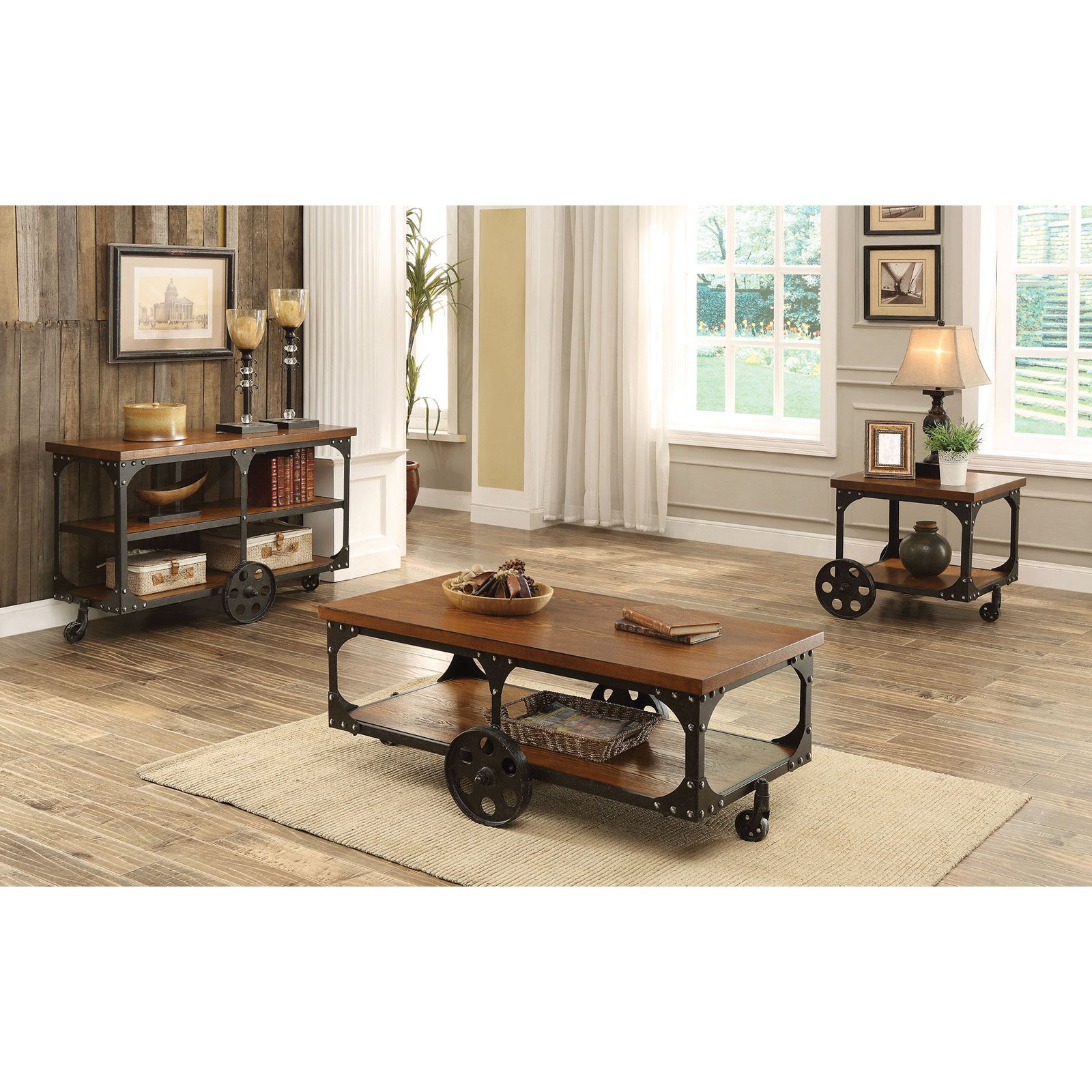 Industrial Style Solid Wooden Sofa Table With Metal Accents Wheels Brown Walmart Com Walmart Com