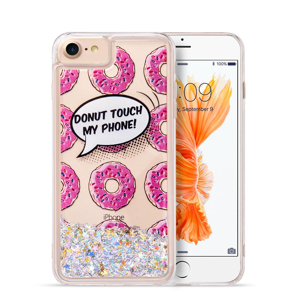 Luxmo Case for iPhone 7 Cover Waterall Liquid Sparkling Quicksand Tpu Cases - Donuts