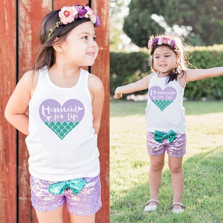 Little Mermaid Baby Girls Outfits Clothes Sleeveless Tops+Shorts Pants 2PCS Set](Toddler Mermaid Outfit)