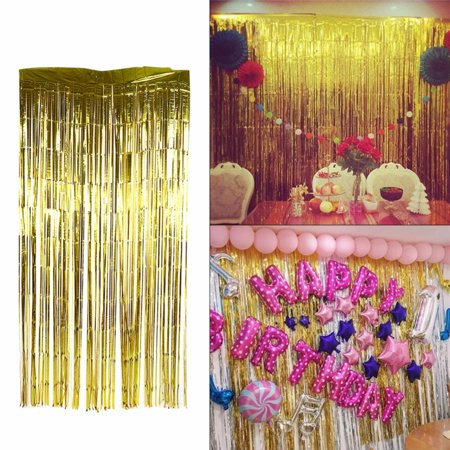 200cm Curtain Birthday Wedding Party Photo Backdrop Reusable Metallic Tinsel Foil Fringe Curtain Doorway Room Hanging Decoration Gold