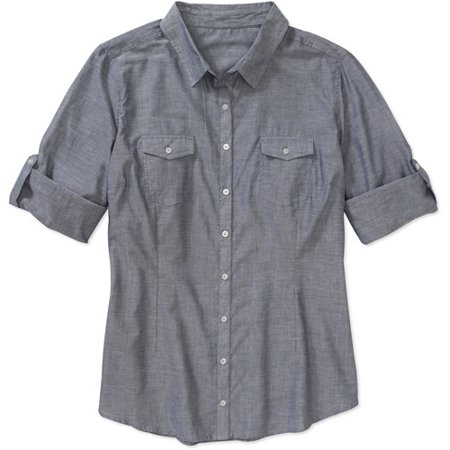 Women 39 S Plus Size Chambray Woven Shirt With Rolled Cuff