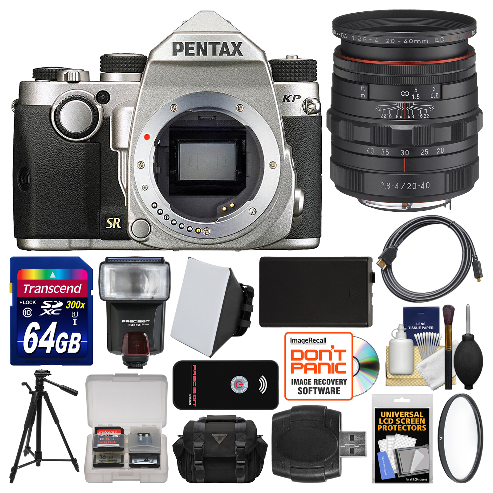 Pentax KP Wi-Fi Digital SLR Camera Body (Silver) with 20-40mm Lens + 64GB Card + Case + Flash + Battery +... by Pentax