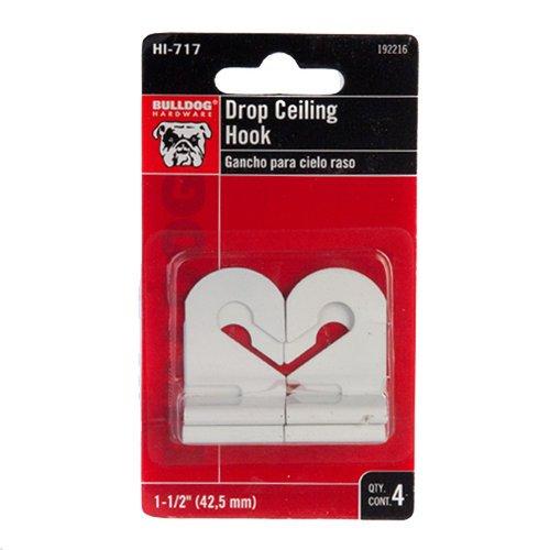 Bulldog Drop Ceiling Hook, White, 4pc