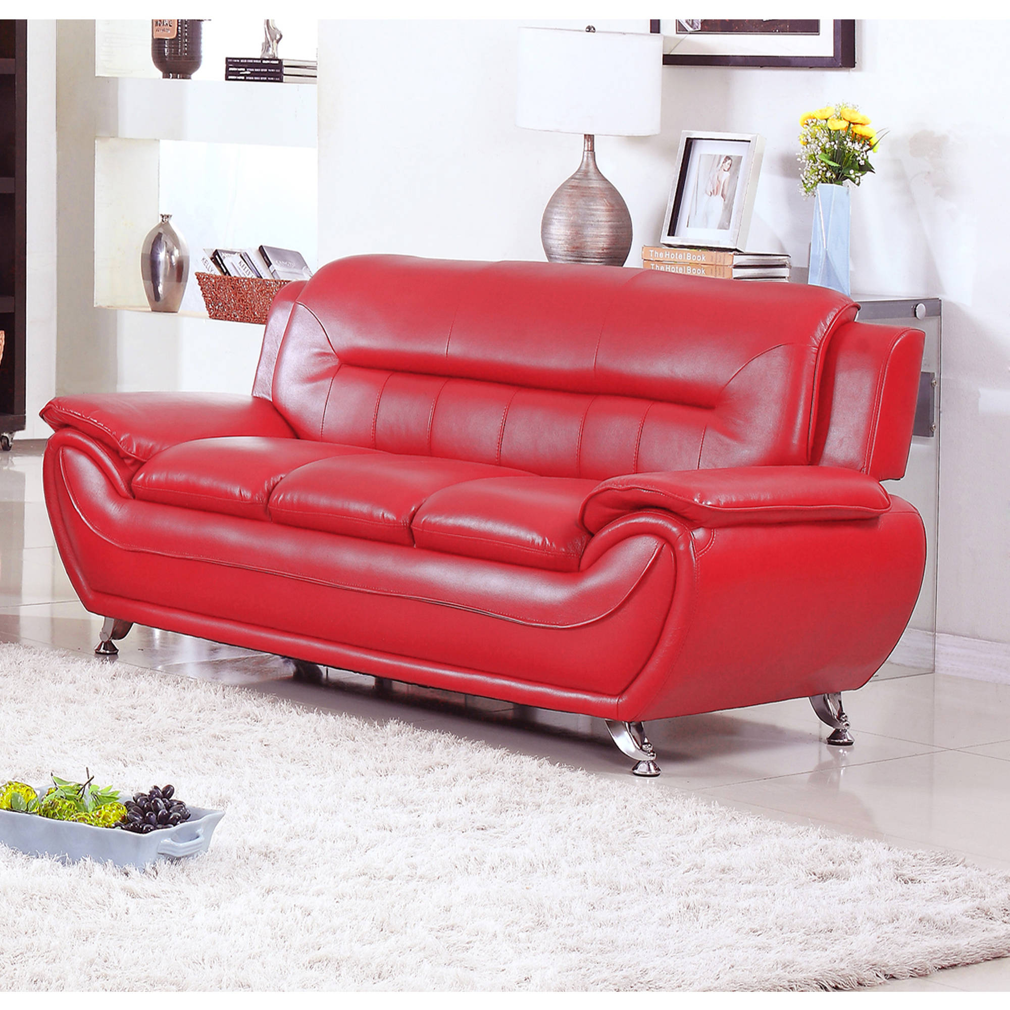 UFE Norton Red Faux Leather Modern Living Room Sofa