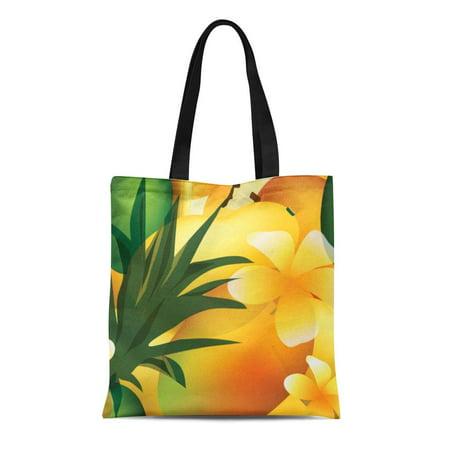 ASHLEIGH Canvas Tote Bag Party Hawaiian Luau Tropical Summer Pineapple Fruit Reusable Handbag Shoulder Grocery Shopping Bags (Fruit Tote)