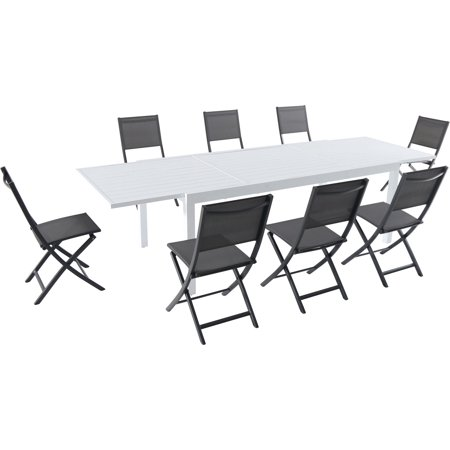 """Hanover Del Mar 9-Piece Outdoor Dining Set with 8 Folding Sling Chairs in Gray and a White 40"""" x 118"""" Expandable Dining Table"""