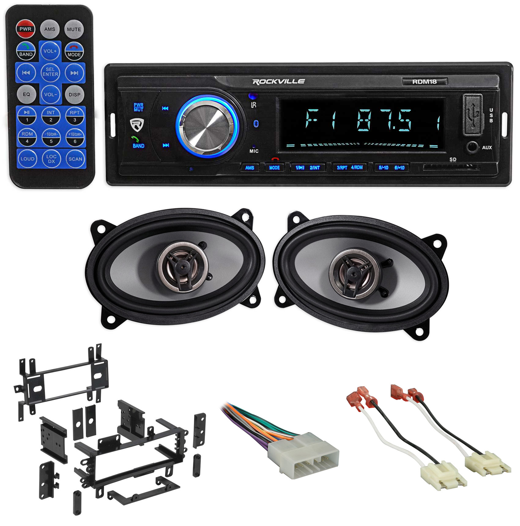 Digital Media Receiver/Radio+Front Speakers+Wire Kits For 87-95 JEEP WRANGLER YJ