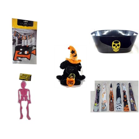 Halloween Fun Gift Bundle [5 Piece] - Trick or Treat Banner 42.5 x 5 Inches - Black With Skeleton Oval Party Tub - ADA Trick or Treat Wizard Black Puppy Plush - Hanging Skeleton Pink -  Wooden Craft - Easy Halloween Crafts And Treats