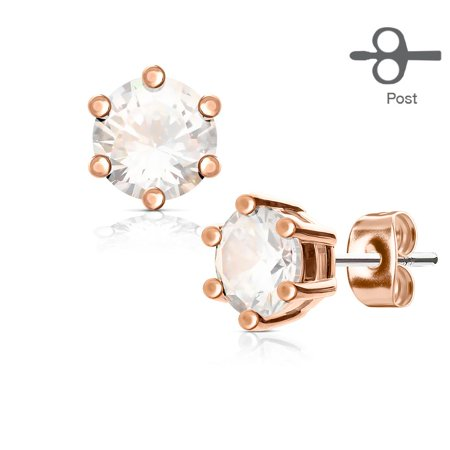 6 Prong Set Clear CZ Rose Gold Tone 316L Surgical Steel Post Stud Earrings (316l Prong Set)