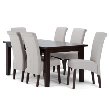 Brooklyn + Max Lincoln Contemporary 7 Pc Dining Set with 6 Upholstered Dining Chairs in Natural Linen Look Fabric and 66 inch Wide Table ()