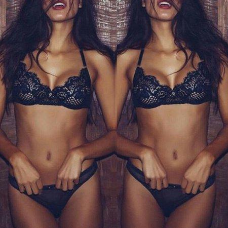 Women Lady Sexy Lace Lingerie Bralette Bra Set Bustier Sleepwear Nightwear Underwear Black - Lingerie Shoping