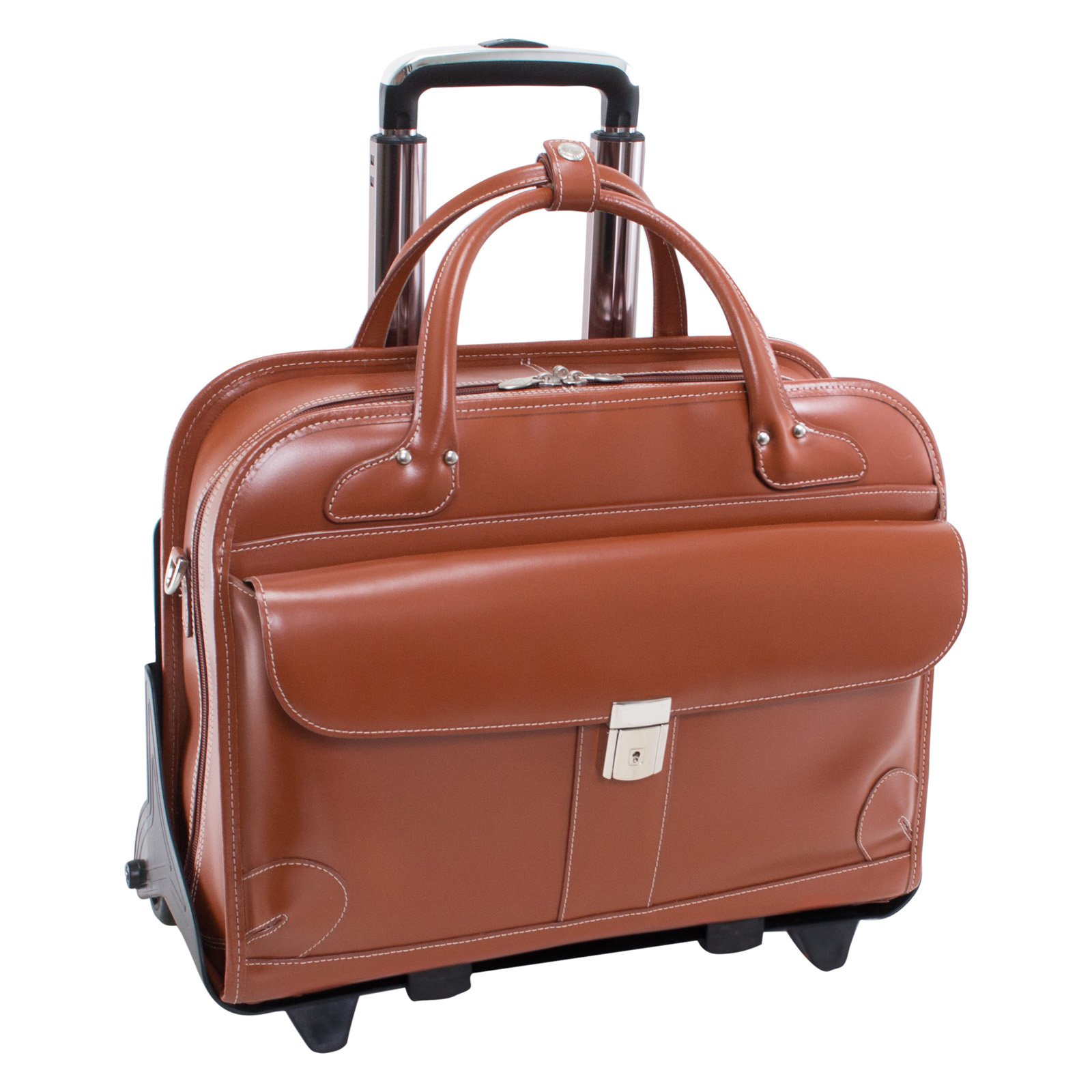 McKlein USA Lakewood Leather Fly-Through Checkpoint-Friendly Detachable-Wheeled Ladies Briefcase