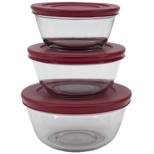 Anchor Hocking 6-Piece Glass Mixing Bowl Set with Lids