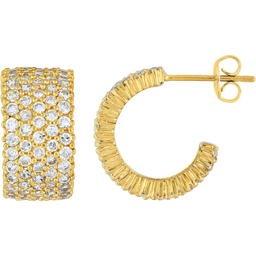 5-1/2 Carat T.G.W. CZ Yellow-Plated Cuff Earrings