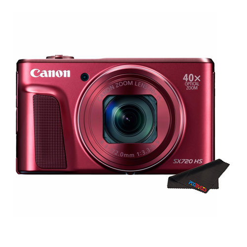 Canon PowerShot SX720 HS Digital Camera (Red) + Pixibytes Cleaning Cloth