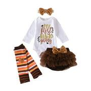 Newborn Thanksgiving Skirt Set Kid Girl Romper Bodysuit Tutu Tulle Dress Outfit