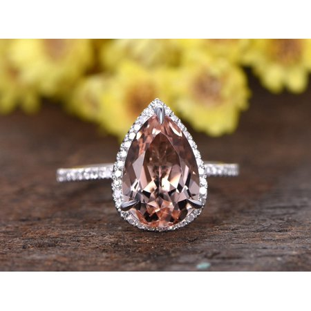 Beautiful 1.5 Carat Pear cut Real Morganite and Diamond Engagement Ring in 18k Gold Over Sterling Silver