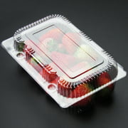 Sonew Food Container,25 PCS Disposable Plastic Hinged Loaf Container Food Fruit Storage Box , Disposable Box