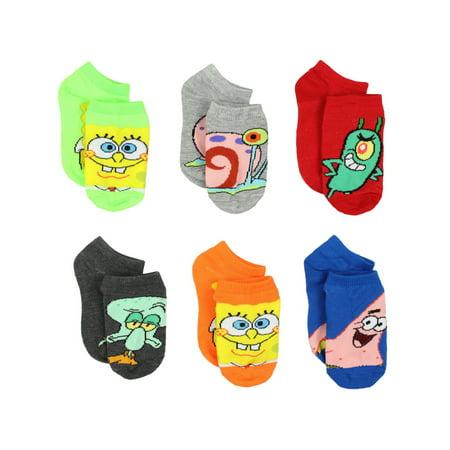 Spongebob Squarepants Boys Girls Toddler 6 pack Socks 9712QH