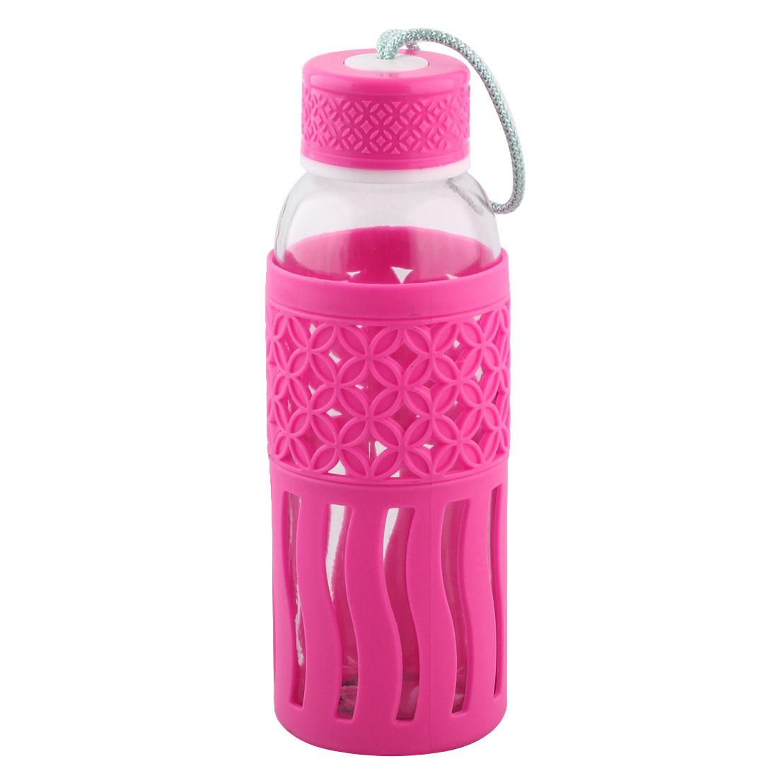 Plastic Sleeve Water Bottle Portable Driking Mug Canteen Kettle Fuchsia 400ml