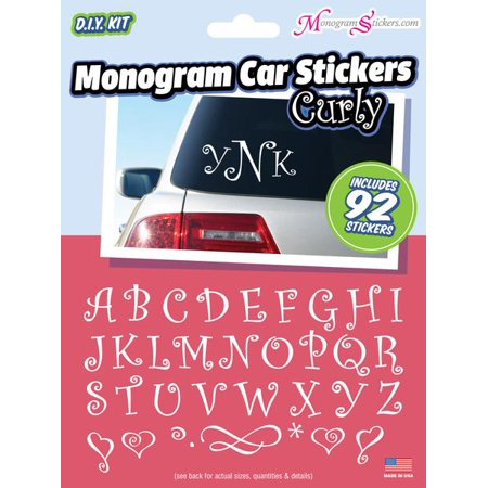 Monogrammed Car Accessories (Monogram Curly Car Stickers Value)