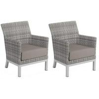 Argento 2 Piece Wicker Patio Club Chair Set W/ Stone Cushions By Oxford Garden