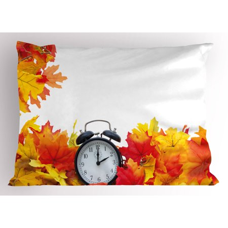 Clock Pillow Sham Autumnal Leaves and an Alarm Clock Fall Season Theme Romantic Digital Print, Decorative Standard Size Printed Pillowcase, 26 X 20 Inches, White and Orange, by