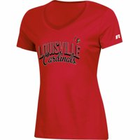 Women's Russell Athletic Red Louisville Cardinals Arch V-Neck T-Shirt