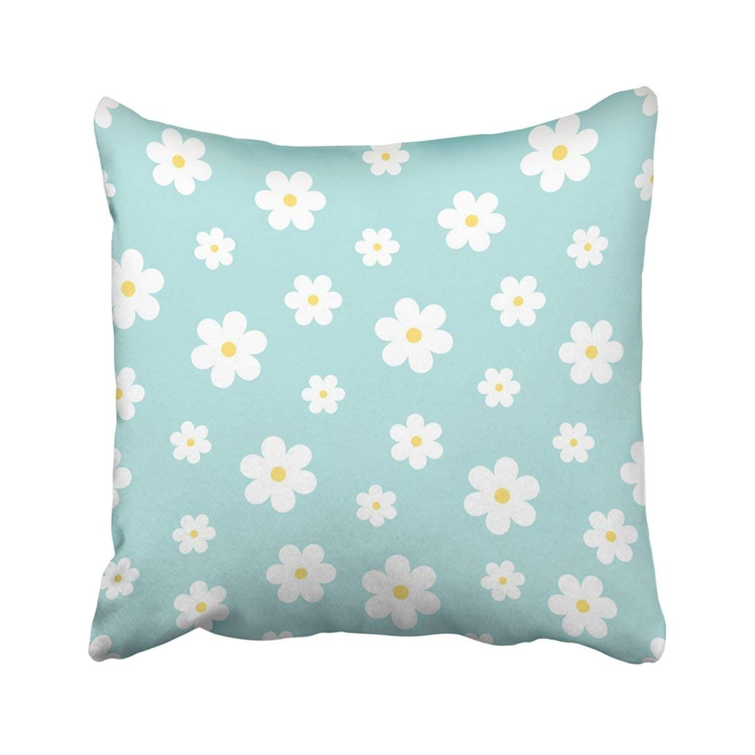 BPBOP Blue Baby Abstract Geometric Floral Pattern White Children Simple Flower Endless Pastel Pillowcase Throw Pillow Cover 16x16 inches