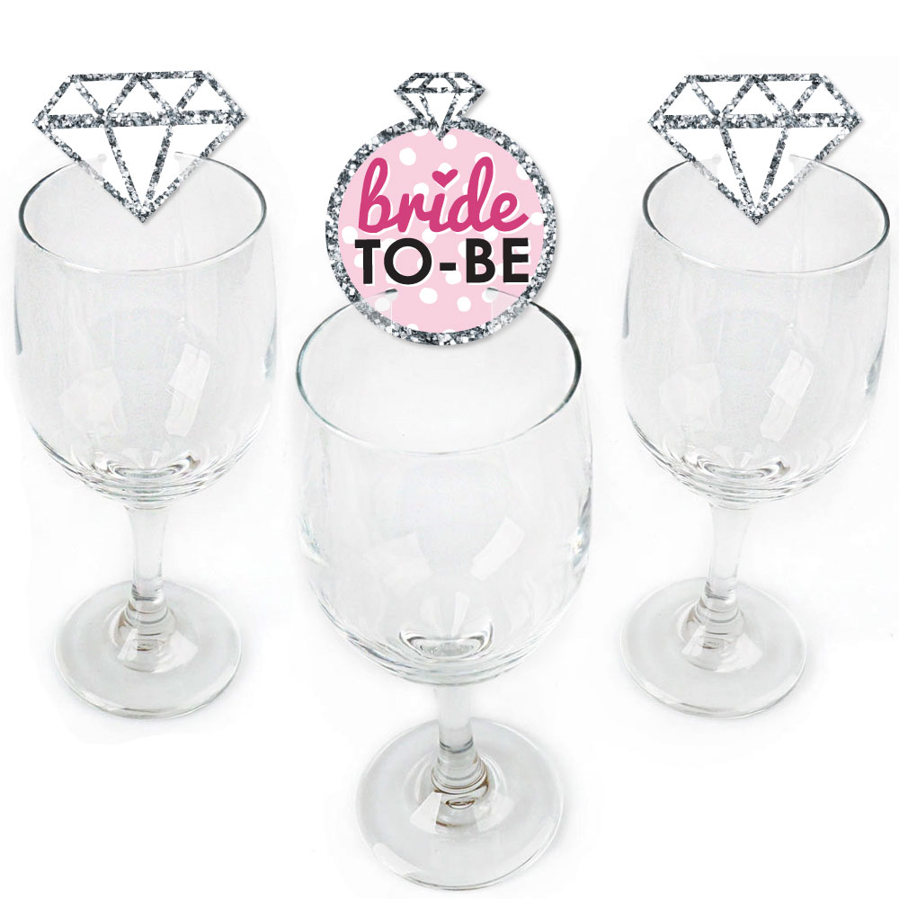 Bride-To-Be - Shaped Bridal Shower or Classy Bachelorette Party Wine Glass Markers - Set of 24