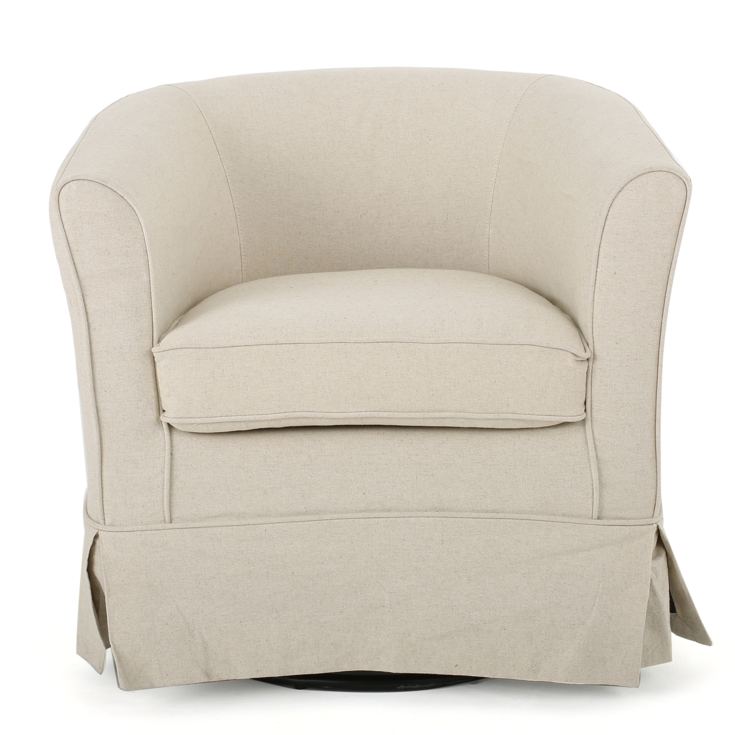 Esclaire Fabric Swivel Chair with Loose Cover, Natural