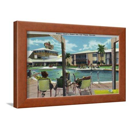 - Las Vegas, Nevada, Exterior View of Wilbur Clark's Desert Inn and Swimming Pool Framed Print Wall Art By Lantern Press