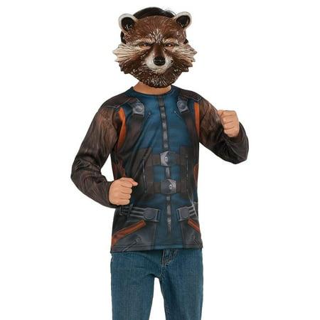 Guardians Of The Galaxy Vol. 2 Boys Rocket Raccoon Costume Top Shirt](Raccoon Halloween Costume)