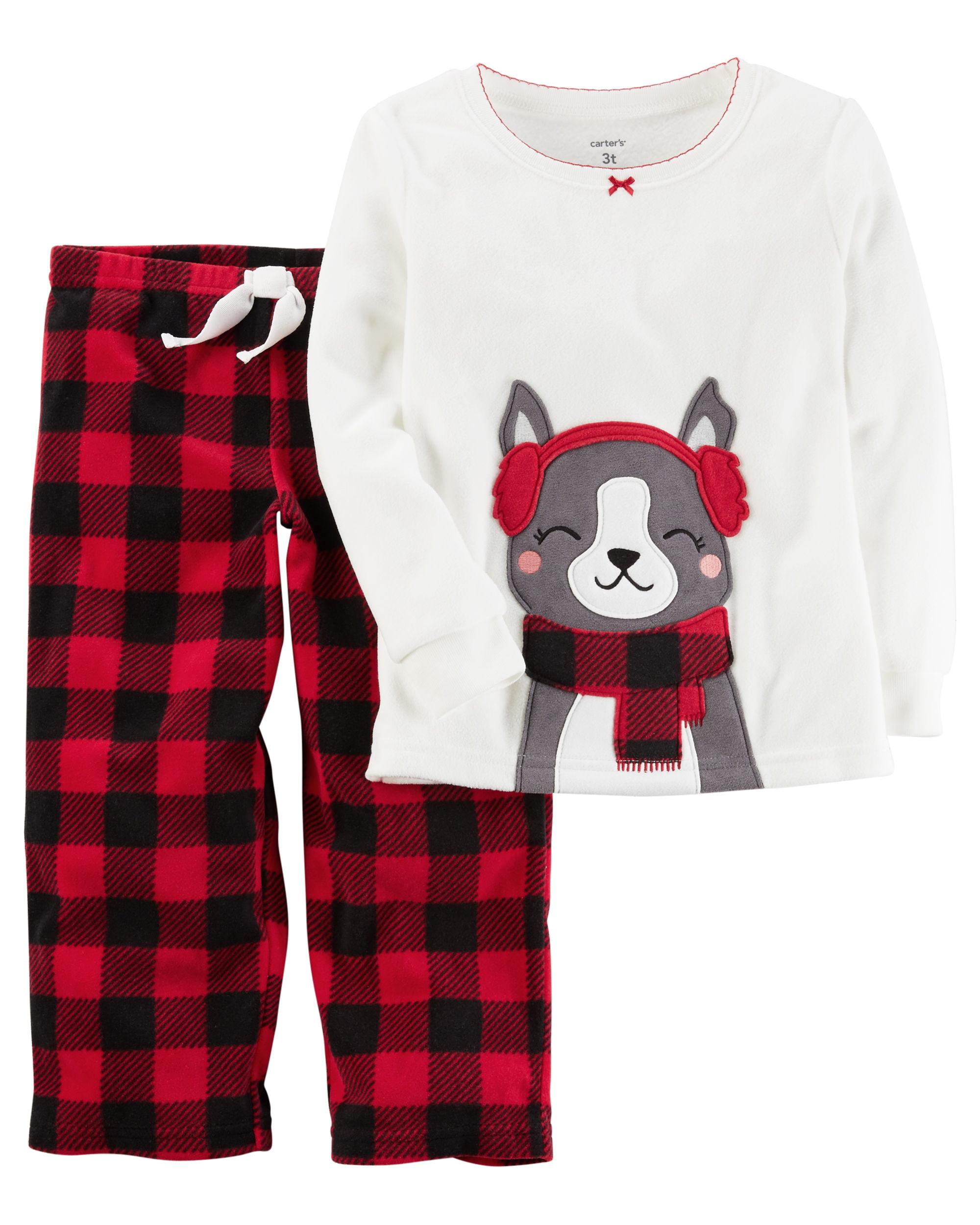 Carter's Big Girls' Holiday Fleece 2 Piece Pajama Set- Plaid Dog -24 Months
