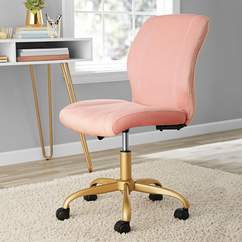 Picture of: Mainstays Plush Velvet Office Chair Pearl Blush Walmart Com Walmart Com