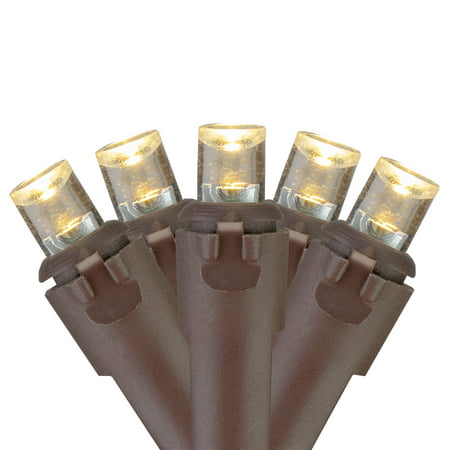 70 Warm White LED Wide Angle Icicle Christmas Lights - 6ft Brown Wire Warm White Led Icicle