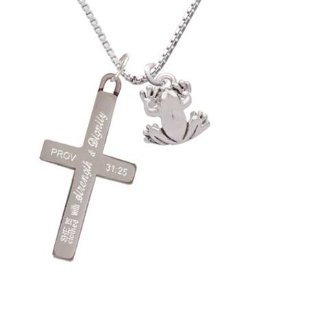 Silvertone Small Frog - Strength and Dignity - Cross Necklace - Frog Necklace