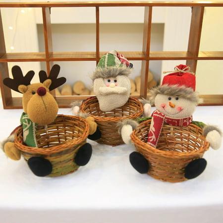 Visland Christmas Santa Reindeer Wooden Candy Basket Storage Container Desktop Ornament - image 6 de 7