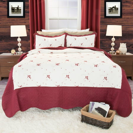 Somerset Home Chloe 3pc Embroidered Quilt Bedding