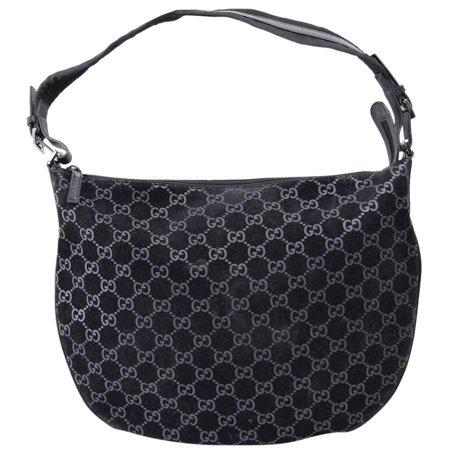 Monogram Gg Hobo 869280 Black Suede Leather Shoulder Bag ()